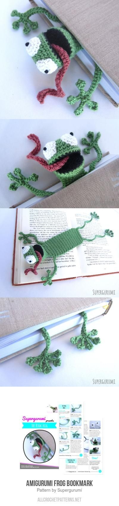 Amigurumi Frog Bookmark Crochet Pattern | costura | Pinterest ...