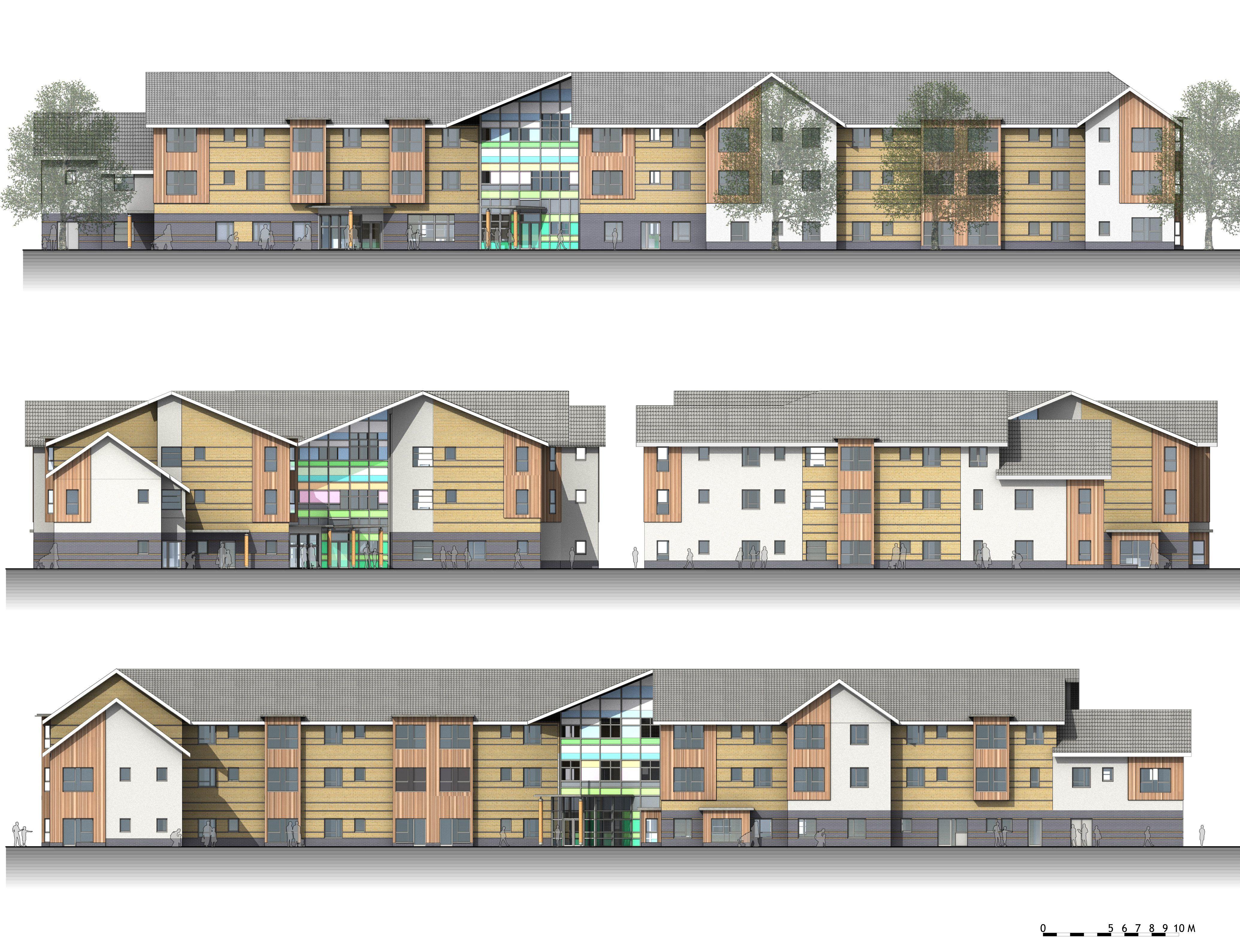 BIM elevations of an Extra care Nursing home designed by Quattor ...