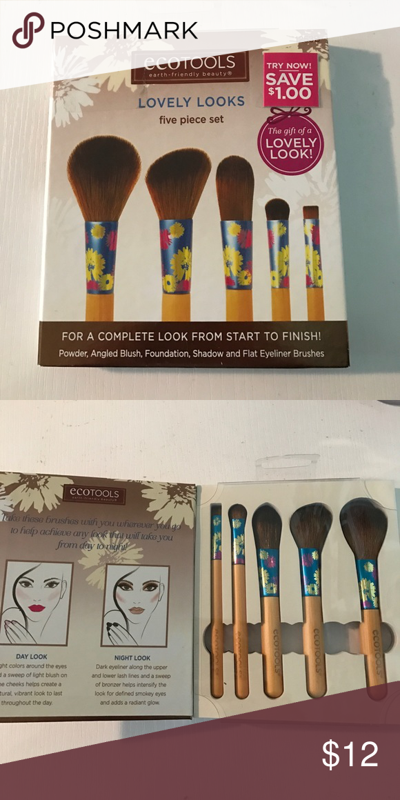987997482 eco tools 5 piece brush set BRAND NEW NEVER BEEN USED!! 5 brush set ecotools  Makeup Brushes & Tools