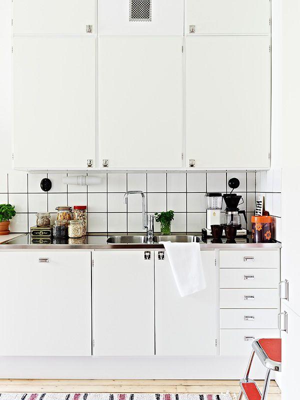 Kitchen azulejo blanco con junta negra, genial Kitchen ideas