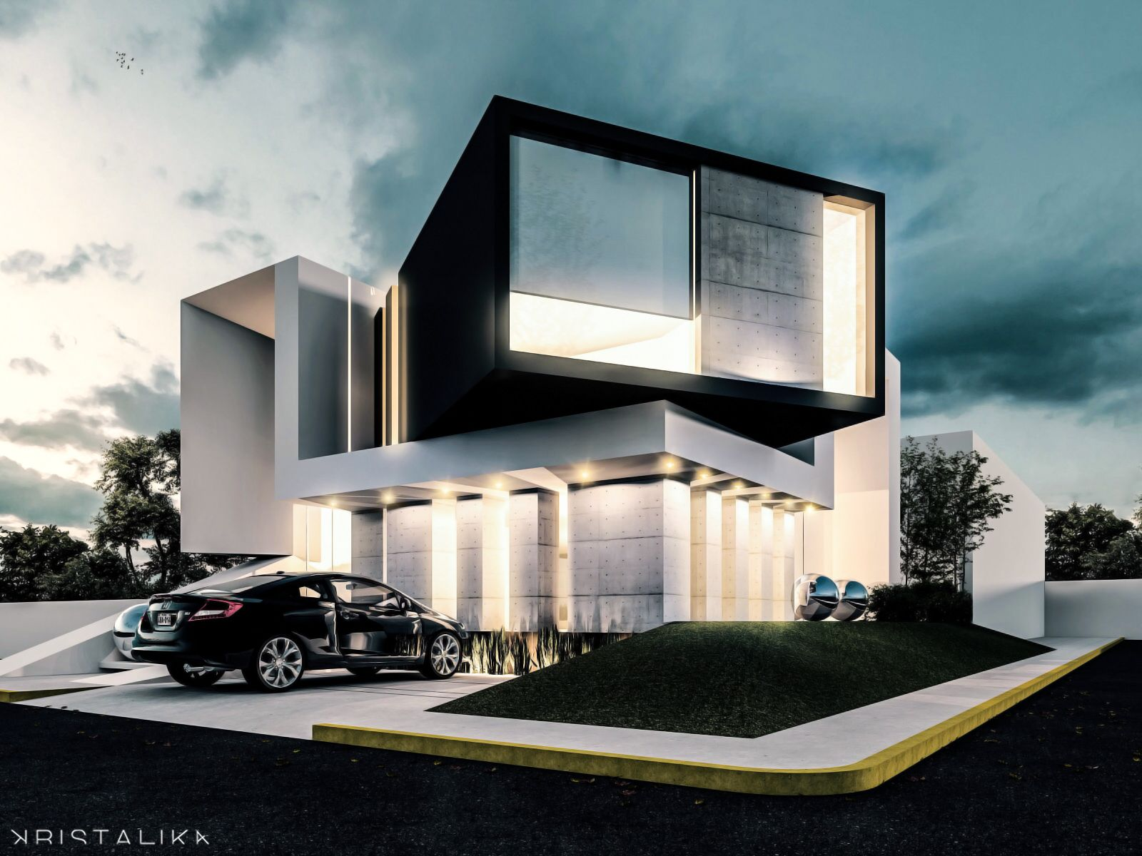 Bent house architecture modern facade contemporary house design homes - Architecture de villa moderne ...