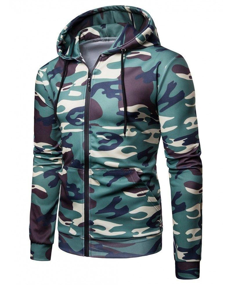 Camo printed casual drawstring hoodie army green