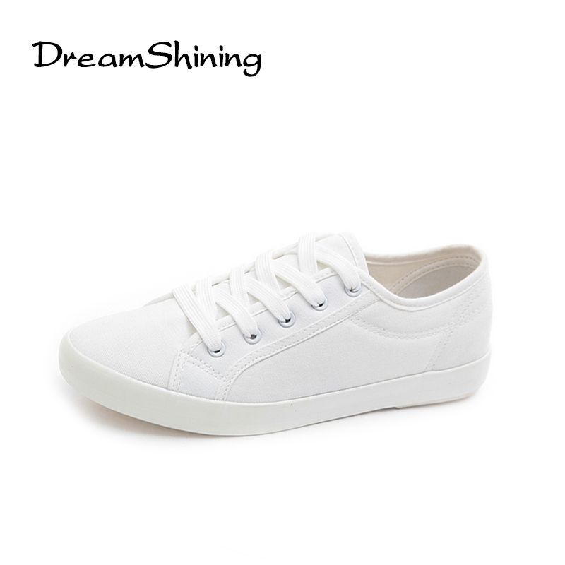 DreamShining Fashion Women White Canvas Shoes Concise Low Top Casual Flat Student Shoes Lace Up Solid Canvas Walking Women Shoes