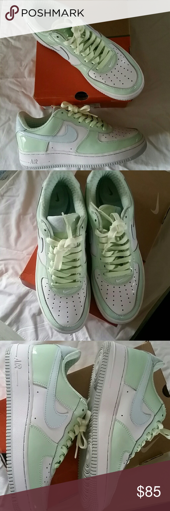 Nike Air Force 1's - BRAND NEW Brand new Women's Nike Air Force 1's premiums!  Worn only to try on, never been worn outside.  No creases at the toes and laces are crispy clean!  These shoes are patent leather white,  pastel green,  and pastel baby blue with pastel green laces. Original box included.  Please note I did write on the box to label it but box is in perfect condition. Nike  Shoes Athletic Shoes