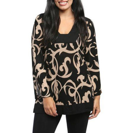 24/7 Comfort Apparel Women's Cream and Black Abstract Printed Tunic, Size: Large