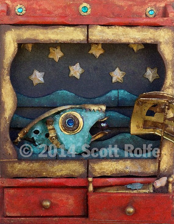 In the Blue Water Art Block on Wood  with fish by Scottius on Etsy