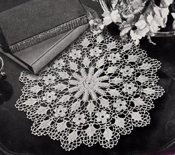Irish Crochet Doily Pattern, c.1942 on Etsy, $3.99 | салфетки ...