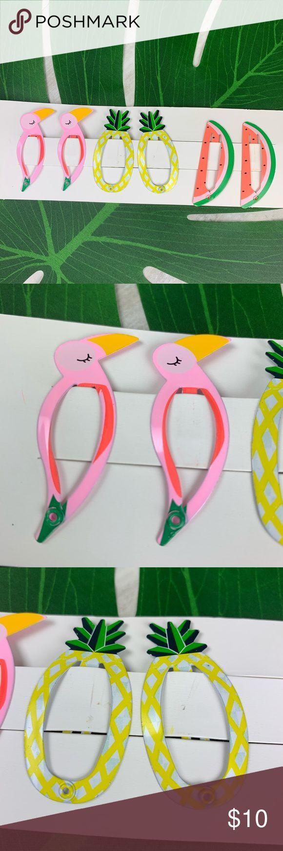 Set of 6 Little Girls Tropical Themed Hair Clips Set of 6 Little Girls Tropical ...   - My Posh Closet -