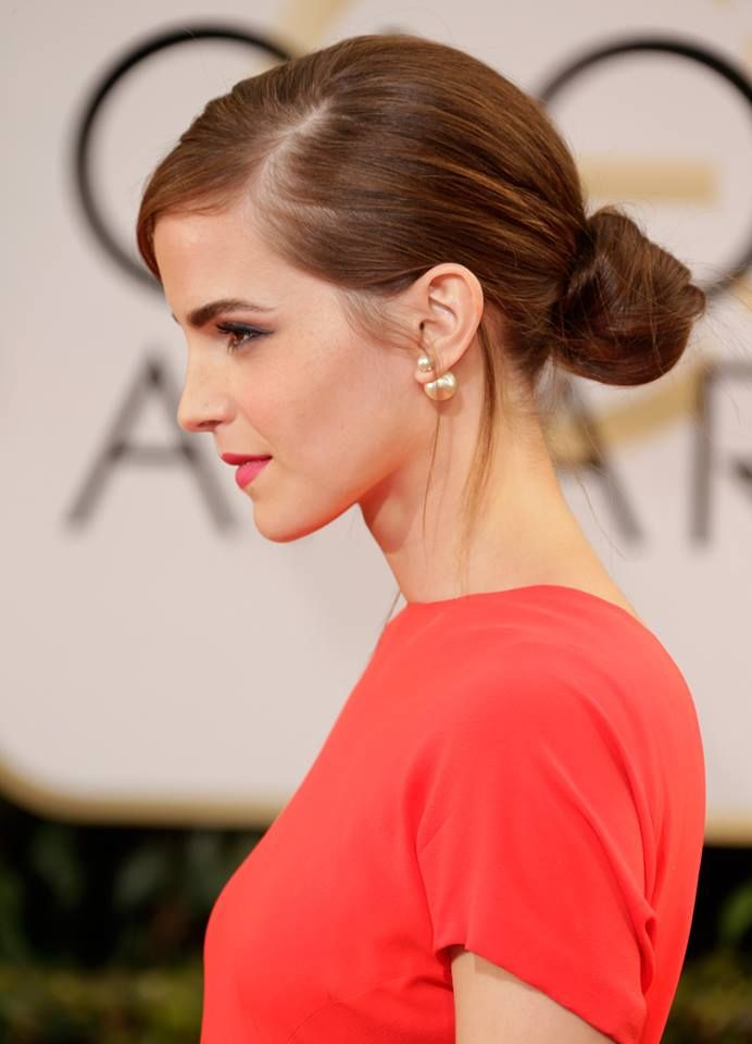 Emma Watson in a low bun Hair Style at #GoldenGlobes 2014.
