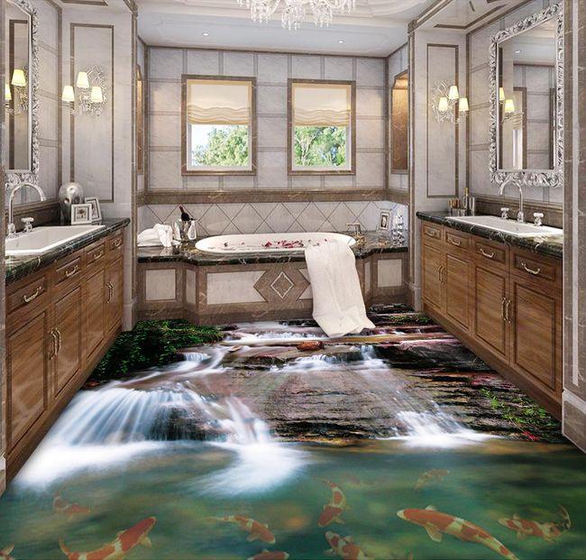 rev tement sol trompe l 39 oeil effet 3d sur mesure la cascade et les poissons cute pinterest. Black Bedroom Furniture Sets. Home Design Ideas