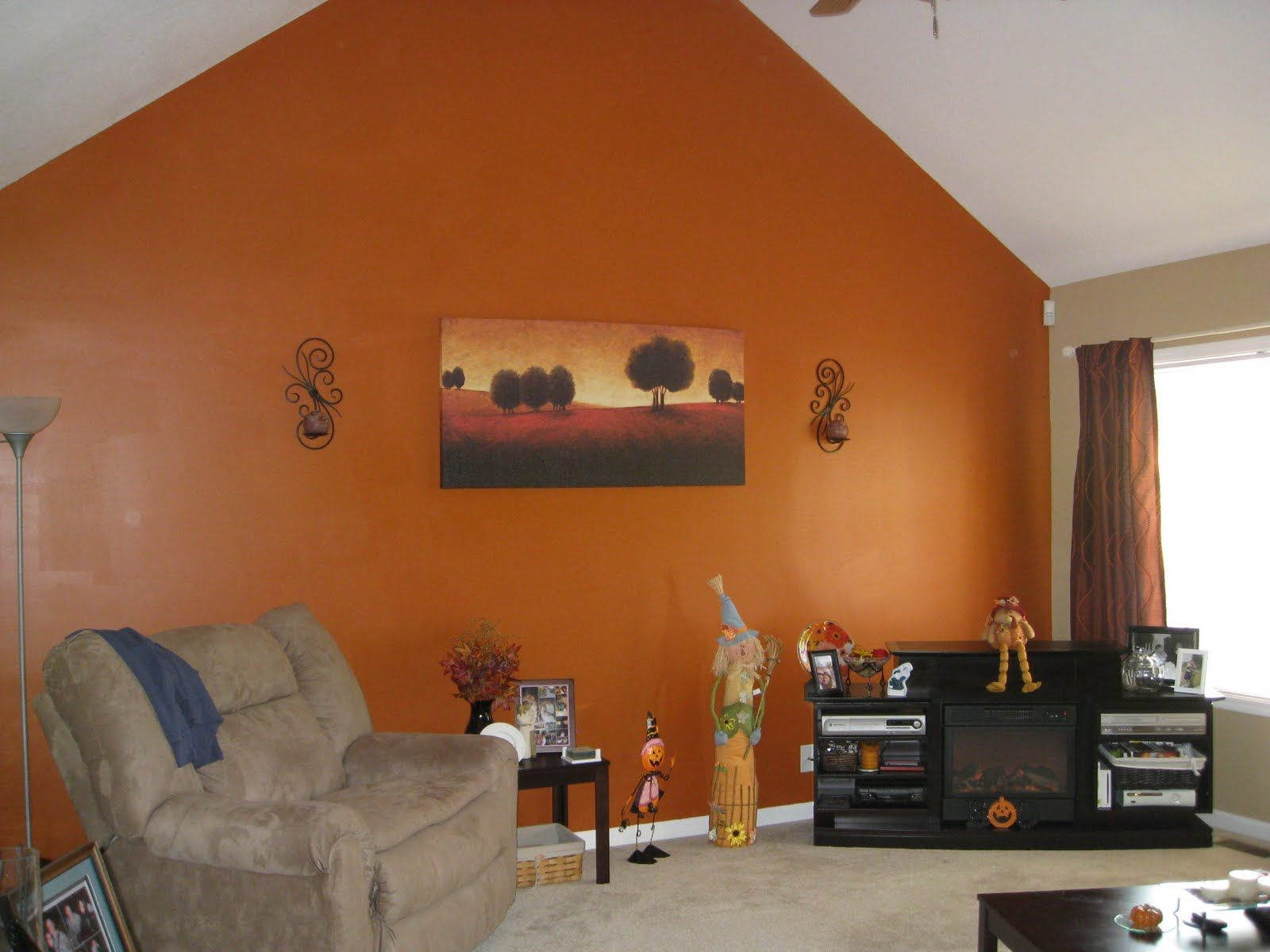 orange accent wall living room | simple home decoration | kitchen