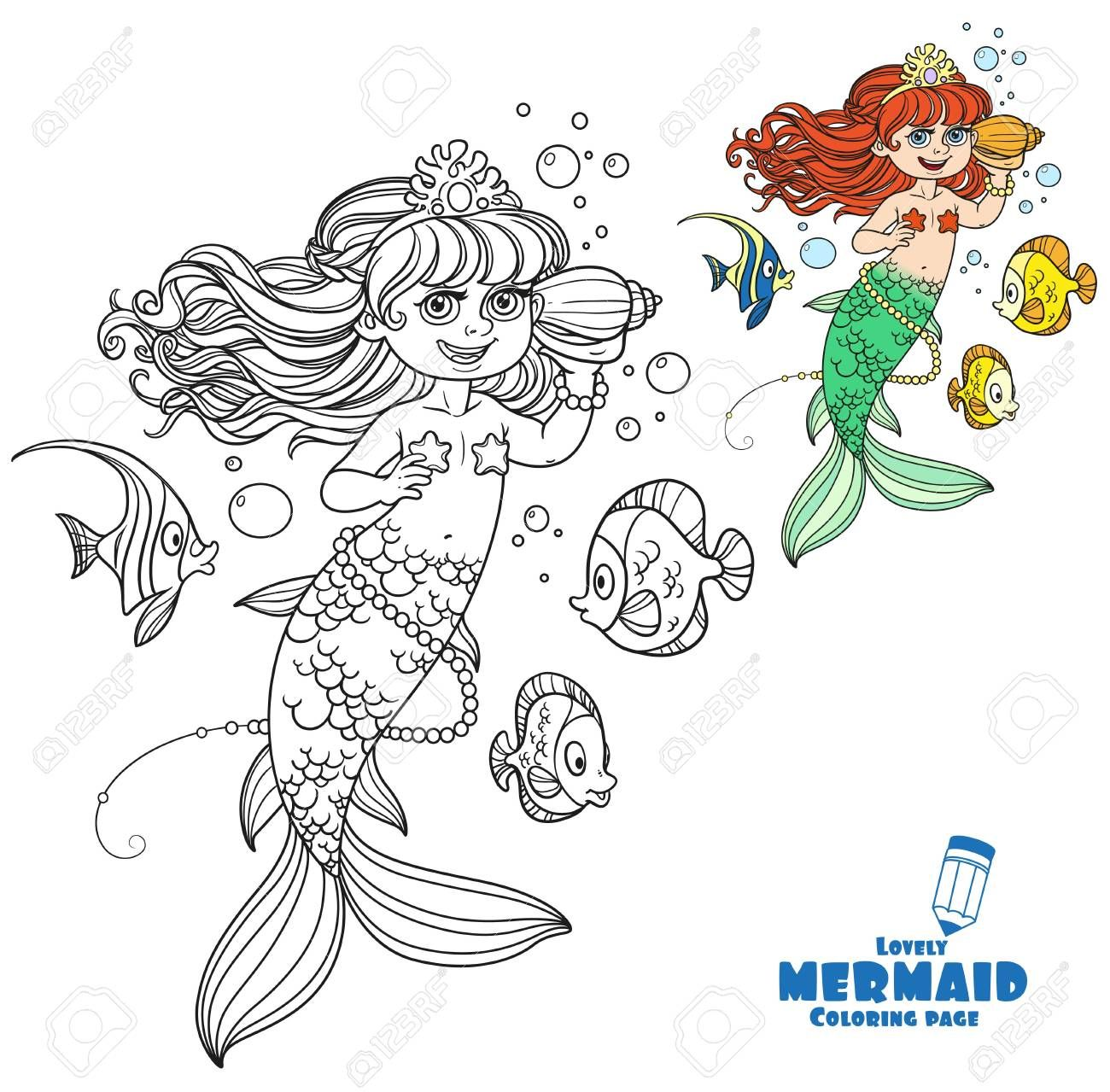 Cute little mermaid girl floats in water and listens shell ...