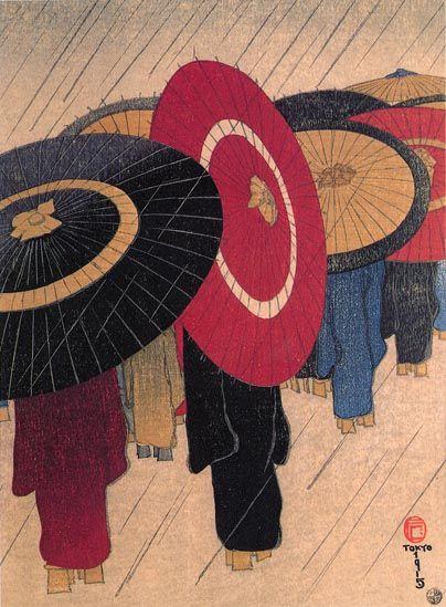 Returning Home in the Rain  by Fritz Capelari, 1915  (published by Watanabe Shozaburo)