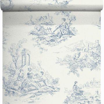 Papier Peint Vinyle Sur Intisse Toile Jouy Bleu Larg 0 53 M