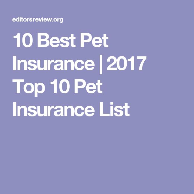 10 Best Pet Insurance 2017 Top 10 Pet Insurance List Pet Insurance Pet Insurance Cost Best Pet Insurance