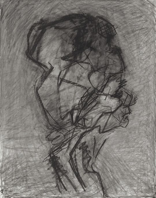 Frank Auerbach (British, b. 1931), Head of Julia - Profile, 1989. Charcoal on paper.