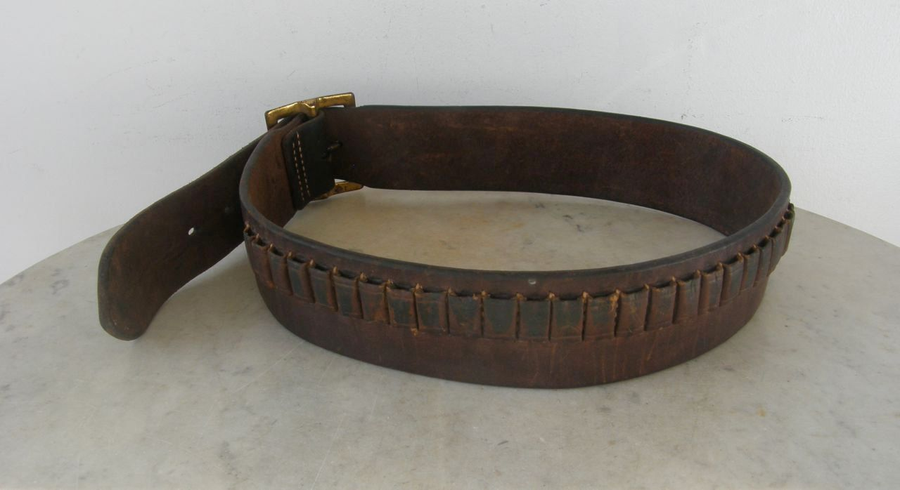 LEATHER CARTRIDGE BELT Signed Hunter 122SM Heavy Brown Leather Metal Buckle 25 Loops for .22 Caliber Shells 6 Belt Loops Vintage Small Size by OnceUpnTym on Etsy