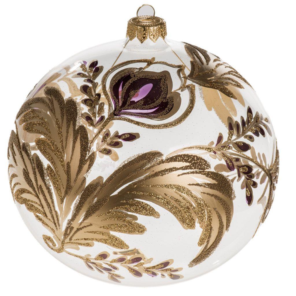 d43d555ba61 Bola de navidad vidrio soplado transparente flor fucsia dorada 1 ...