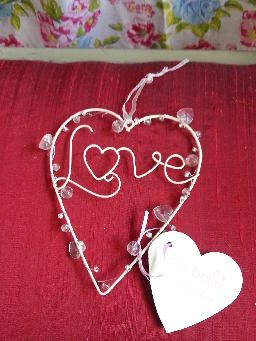 Cream Metal and Bead Hanging Love Heart