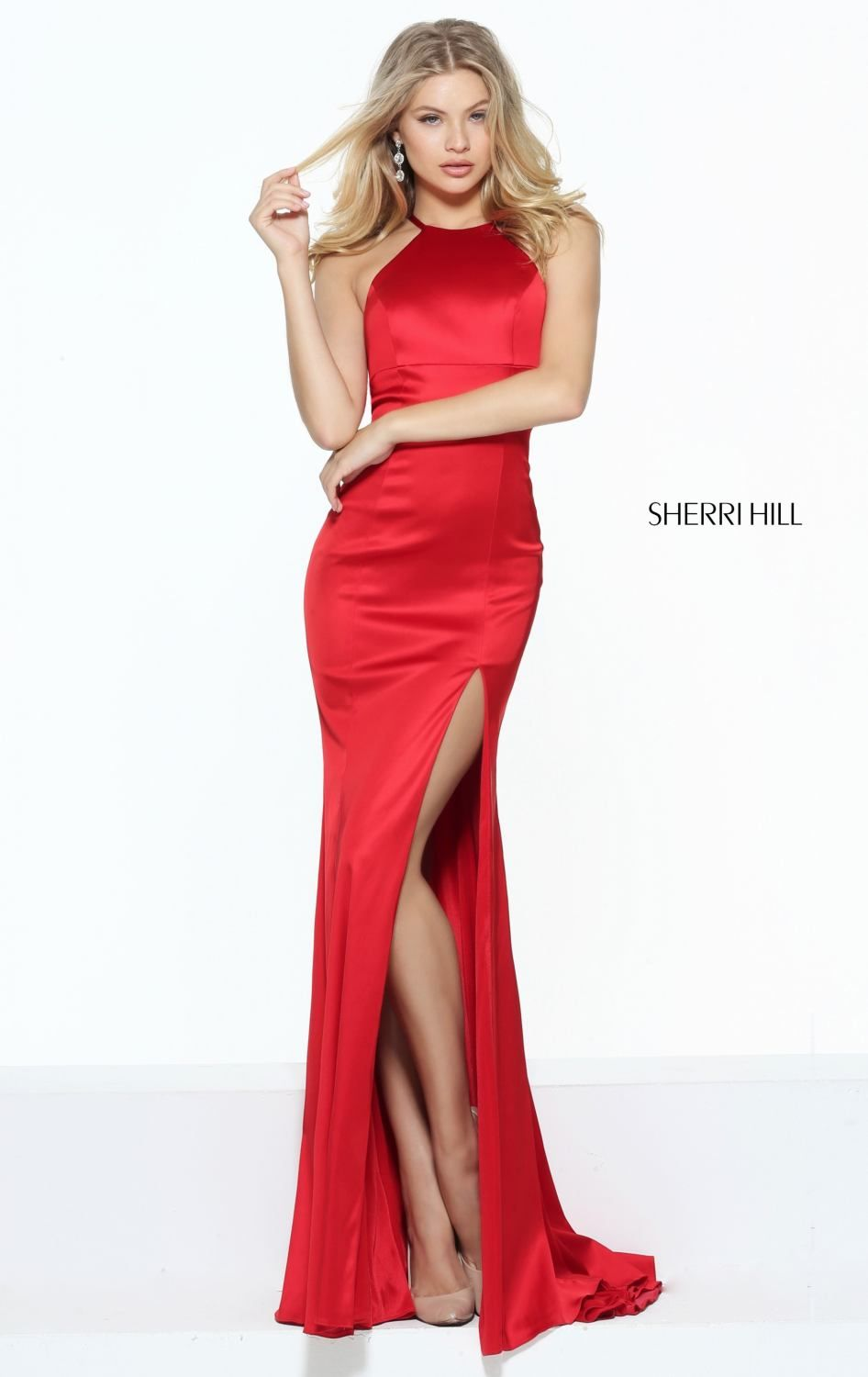 Sherri Hill 50869 Stretch Satin Red Evening Dress - Click Image to Close