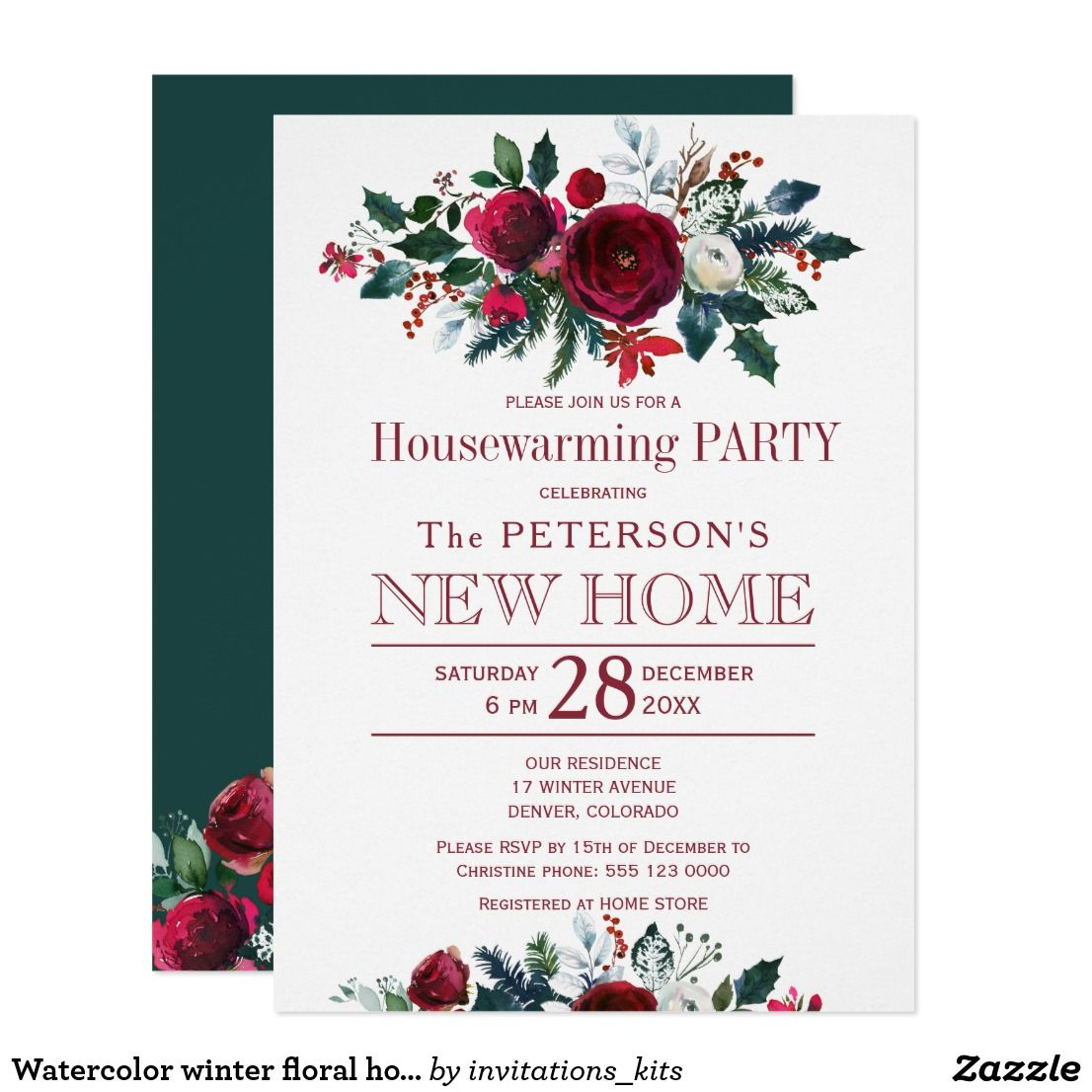 Watercolor winter floral housewarming party card   Housewarming ...