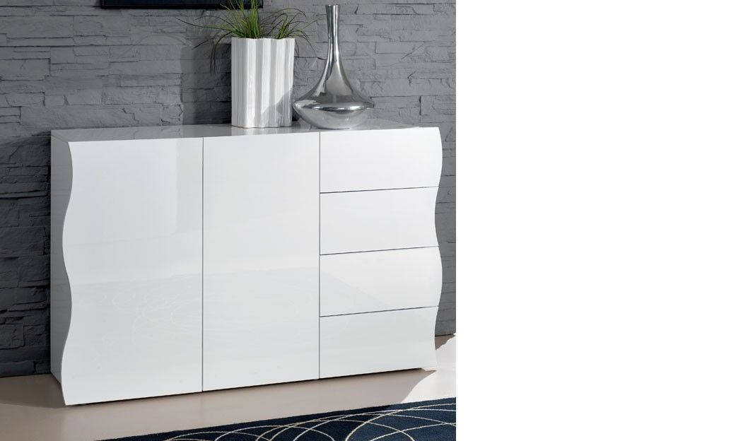 Buffet blanc laqué design 2 portes et 4 tiroirs SWELL | Meuble ...