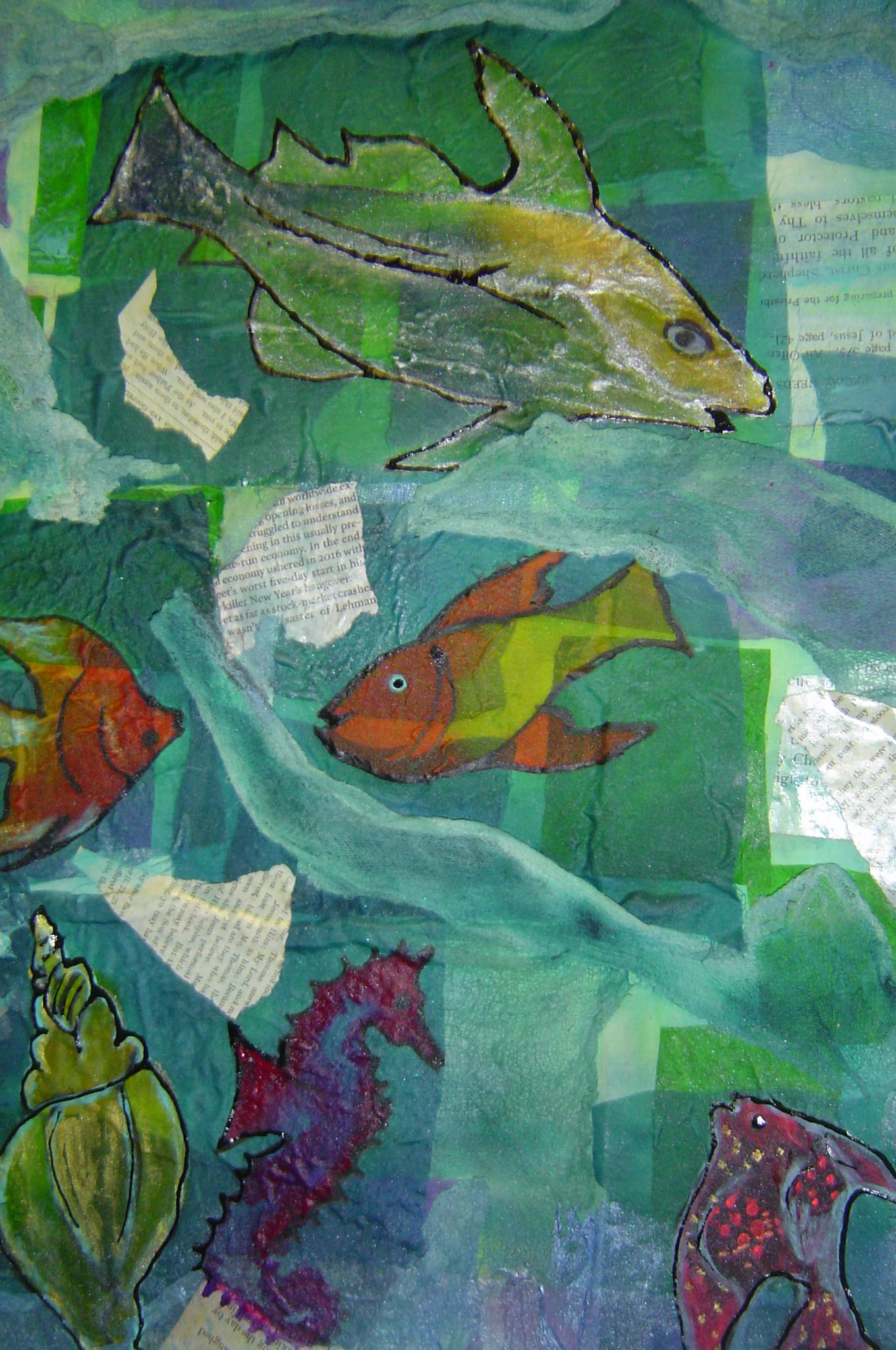 """""""Swimming Through the Text""""  Mixed media: silk, cotton, paper, cheesecloth, layered and painted"""