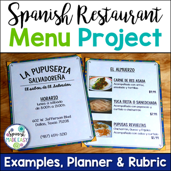 spanish restaurant menu project Señorita ramirez' spanish class or you can buy la comida or la bebida at a grocery store or spanish/ latin american restaurant project completion.