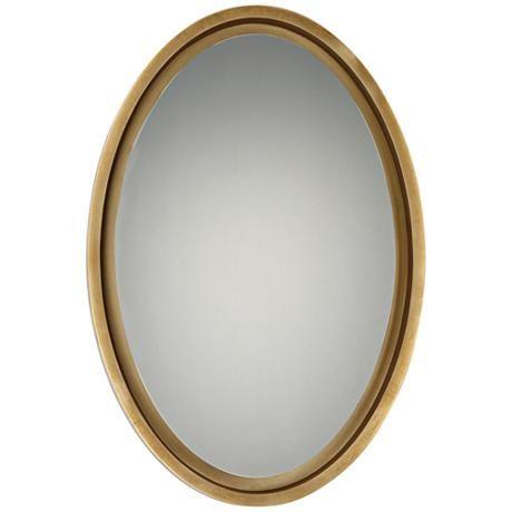 Quoizel Hearst Gold 20 1 2 X 30 1 2 Oval Wall Mirror Bathroom