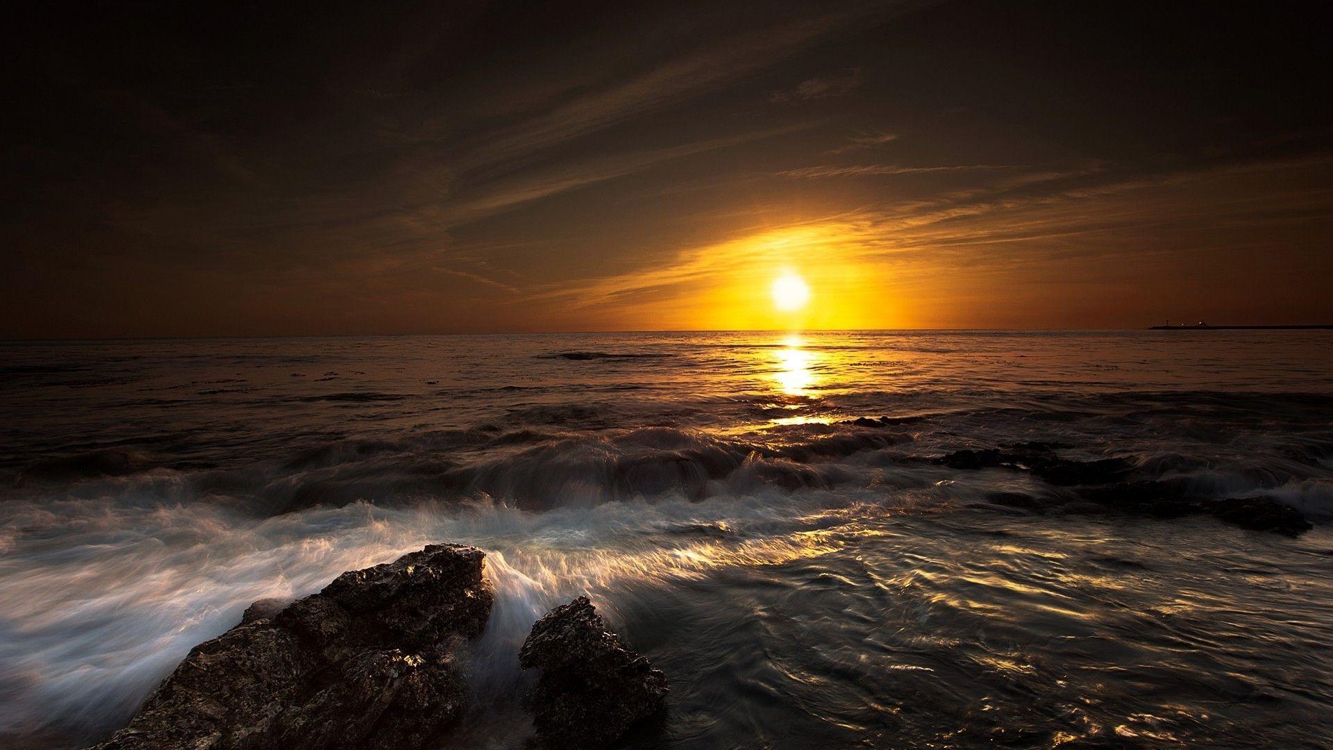 Ocean Waves Sunset Ocean Landscape Ocean Sunset Sunset Wallpaper Wallpaper sunset moon sea rocks waves