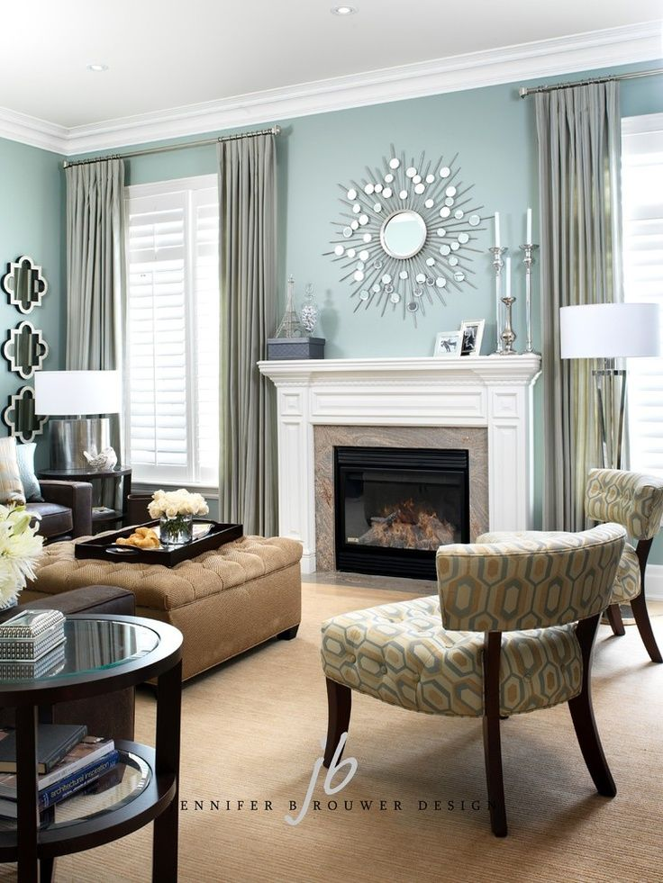 Fireplace Between 2 Windows Ideas Love The Wall Color Teal Living Rooms Living Room Colors Living Room Color