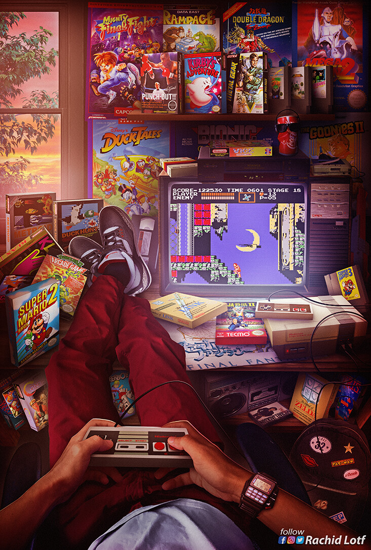 Artstation Nes Castlevania Rachid Lotf Retro Gaming Art Retro Art Game Art
