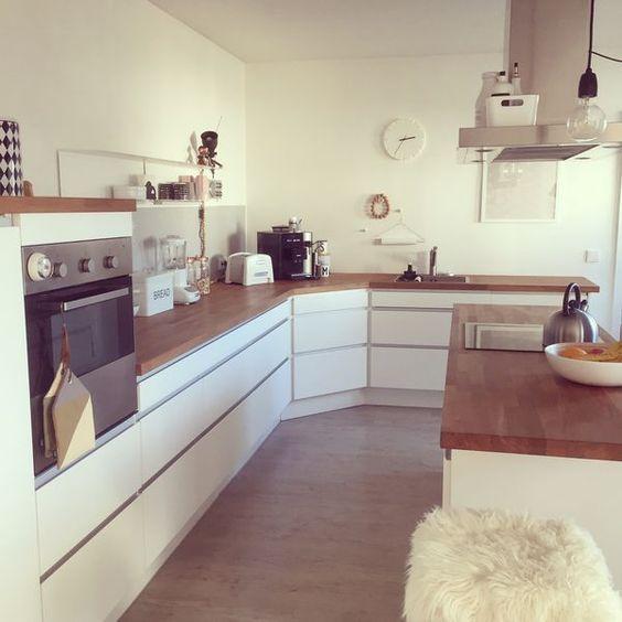 Tolle Küche   weiß und holz Moderne Küchen Pinterest - küche weiß mit holz