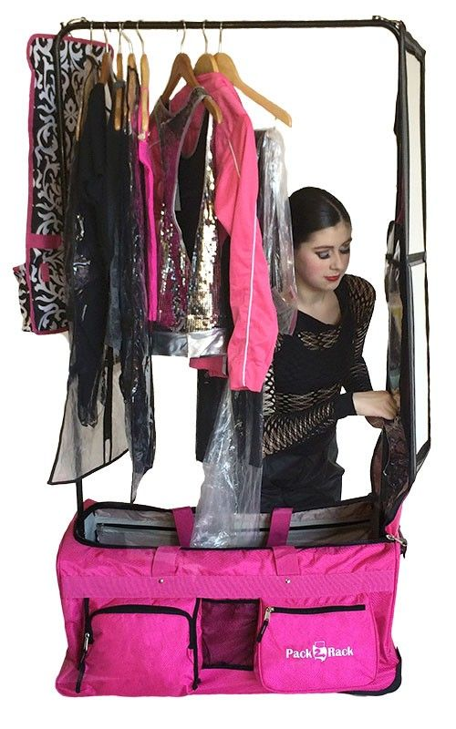Pack 2 Rack Rolling Foldable Dance Bag Garment Racks