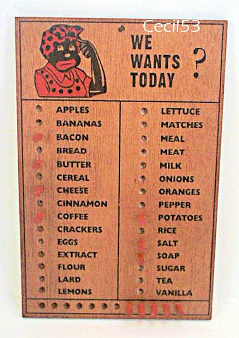 Black Americana Mammy Pegboard Grocery Shopping List Memo Board