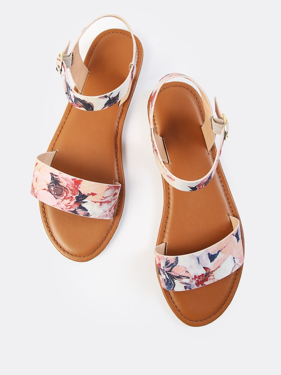 55f407044fc58 Single Band Floral Print Sandals BLUSH MULTI -SheIn(Sheinside ...