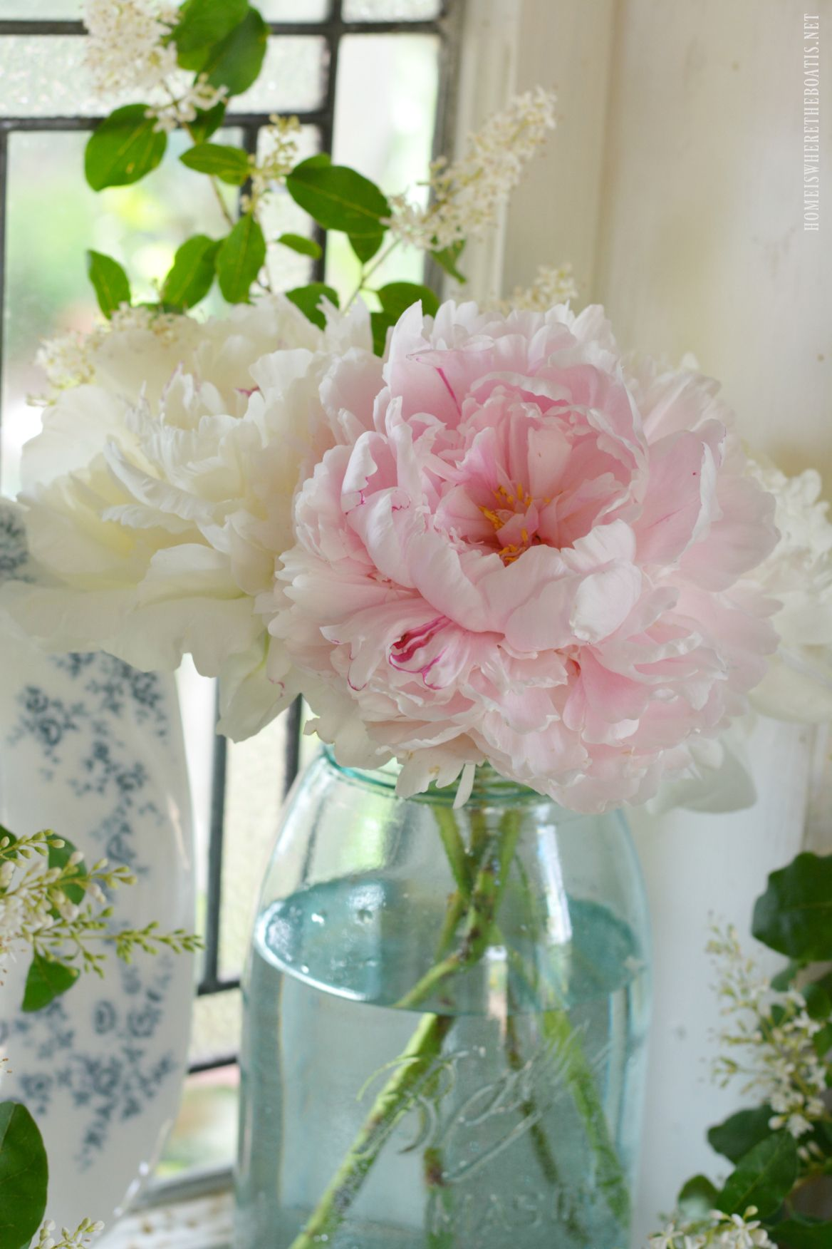 In the Potting Shed Ball Jar Bouquets and Peony Season