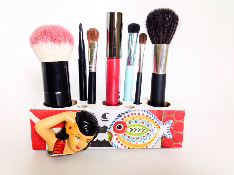 Beach Decor Hawaiian Hula Girl Makeup Brush Organizer