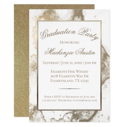 Sepia Graduation Antique Gold Marble Grad Party Card graduation