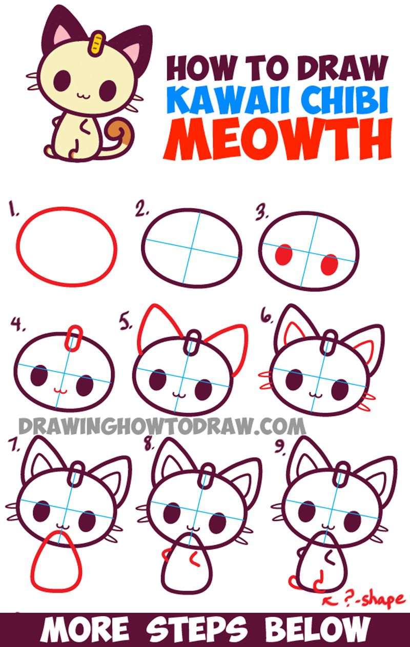 How to draw kawaii chibi meowth from pokemon simple drawing tutorial