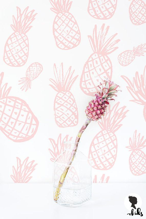 tropical pink pineapple wallpaper baby girl nursery fruits print removable peel and stick