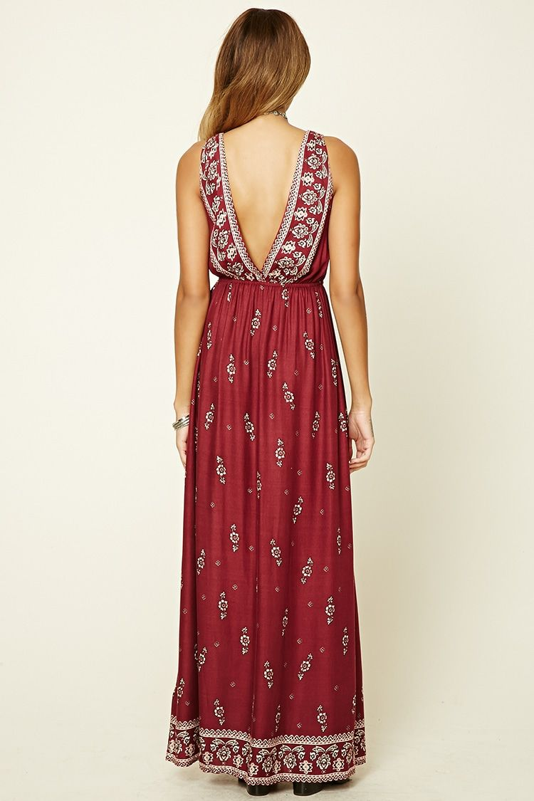 A Woven Maxi Dress Featuring A Floral Print Plunging Lace