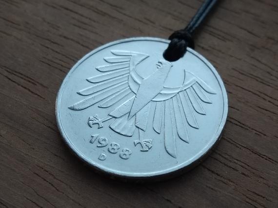 1988 German 5 Deutsche Mark Pendant. 31st Birthday, 31st