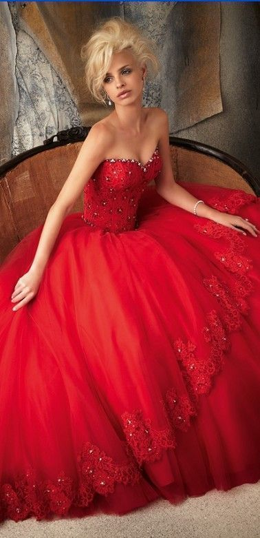 Gorgeous Red Wedding Dress With Her Wonderful Blond Hair Makes This Stand Out Great Theme For The Roses And Chiffon