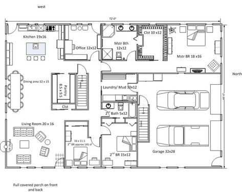 Rectangular Floor Plan Houzz Rectangle House Plans Basement House Plans Metal House Plans