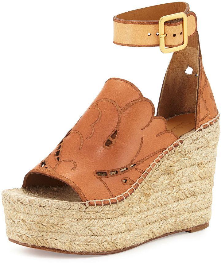 Chloe Tooled Leather Wedge Espadrille Sandal, Marron Glace