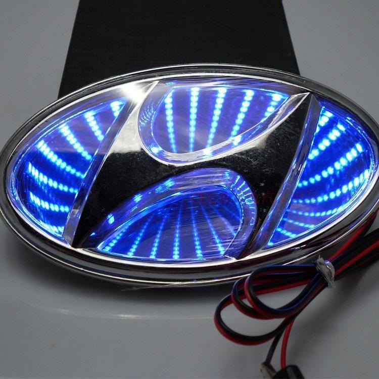 4D Car LED Real Logo Light Auto Badge Light Emblems For HYUNDAI VERNA Elantra