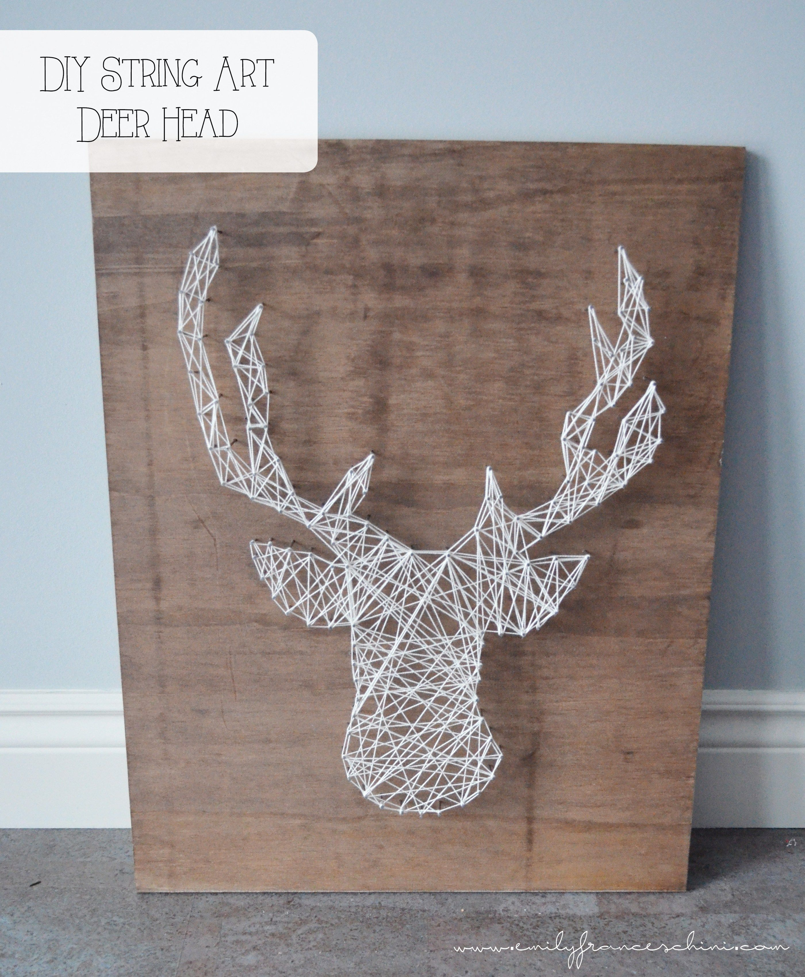diy string art deer head fils tendus t te de cerf tutoriel faire soi m me fils tendus. Black Bedroom Furniture Sets. Home Design Ideas