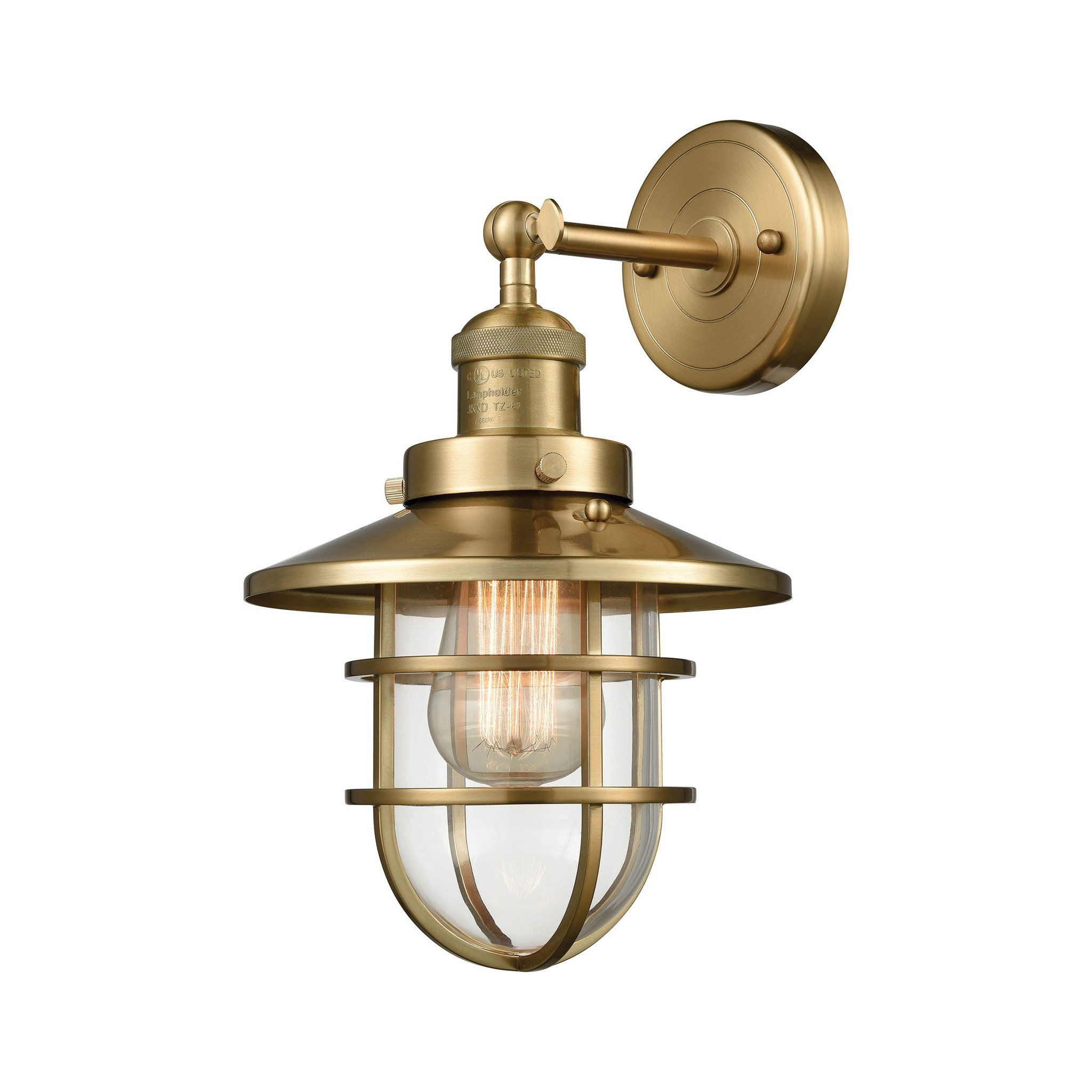 Elk Lighting Seaport Wall Sconce With Metal Shade In Satin Br 66386 1