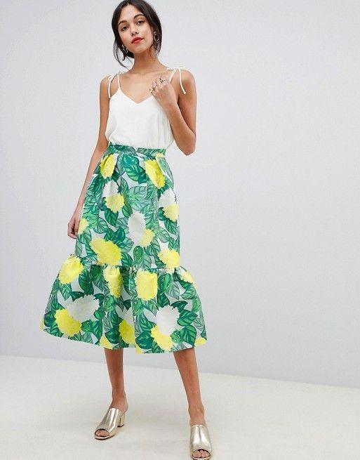 ASOS DESIGN pep hem midi skirt in bloom jacquard  60415055661ca